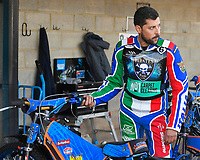 Nicolas Covatti of Poole Pirates tunes his bike in the pits during Poole Pirates vs King's Lynn Stars, SGB Premiership Shield Speedway at The Stadium on 11th April 2019