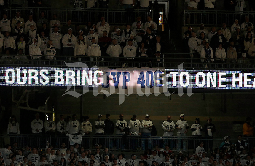 A banner directed to the memory of former Penn State football coach Joe Paterno is draped over a message board before the NCAA Division I football game at Beaver Stadium in University Park, PA on October 25, 2014. (Columbus Dispatch photo by Jonathan Quilter)