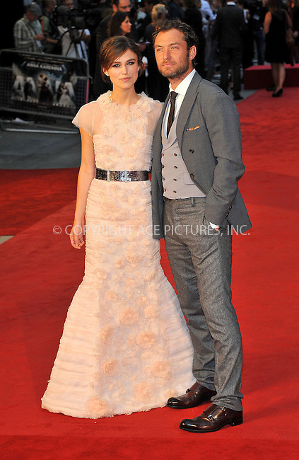WWW.ACEPIXS.COM....US SALES ONLY....September 4, 2012, London, England.....Keira Knightley and Jude Law arriving at the World premiere of 'Anna Karenina' at the Odeon Leicester Square on September 4, 2012 in London, England...........By Line: Famous/ACE Pictures....ACE Pictures, Inc..Tel: 646 769 0430..Email: info@acepixs.com