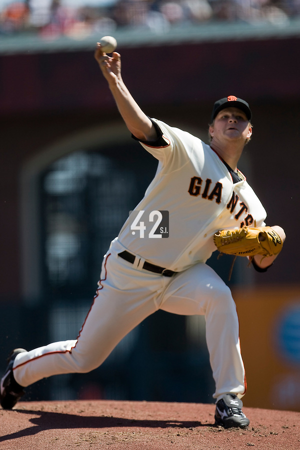 12 April 2008: #18 Matt Cain of the San Francisco Giants pitches during the St. Louis Cardinals 8-7 victory over the San Francisco Giants at the AT&T Park in San Francisco, CA.
