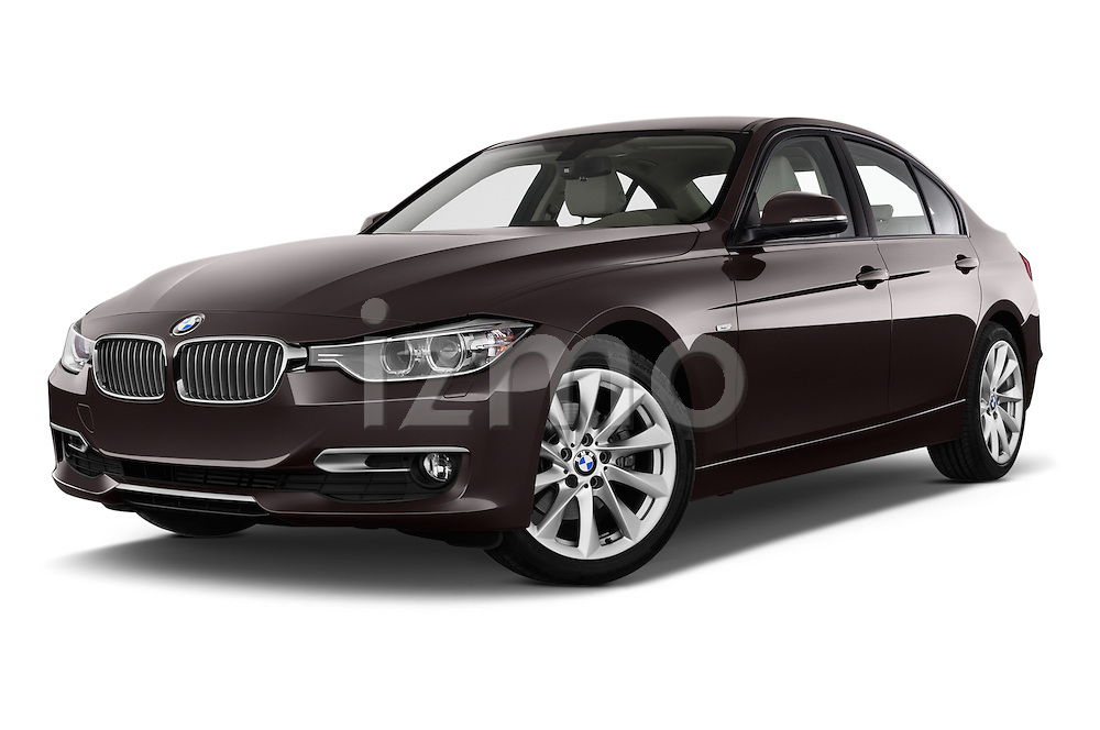 Low aggressive front three quarter view of a 2012 - 2014 BMW 3-Series 320d Modern 4 Door Sedan