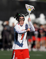Katie Schwarzman (17) passes the ball at the practice turf field in College Park, Maryland.  Maryland defeated Richmond, 17-7.