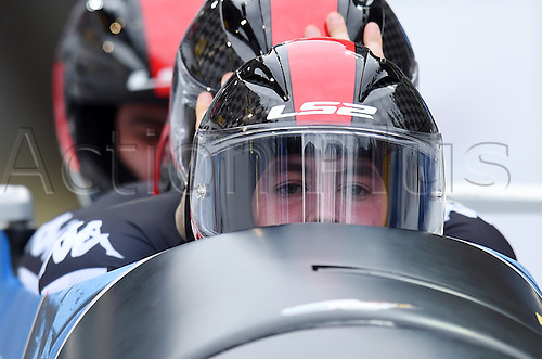 28.02.2016. Koenigssee, Germany.  Austrian bobbers Benjamin Maier, Marco Rangl, Markus Sammer, and Danut Ion Moldovan take off during the Bobsled World Cup in Koenigssee, Germany, 28 February 2016.