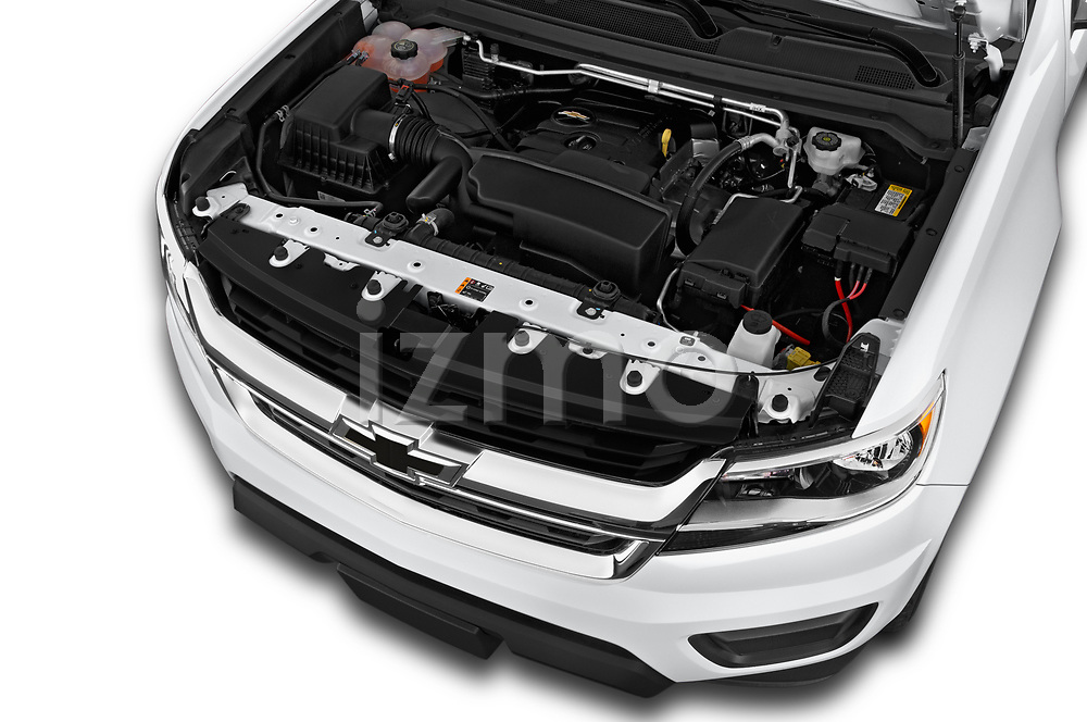 Car Stock 2019 Chevrolet Colorado WT 4 Door Pick-up Engine  high angle detail view