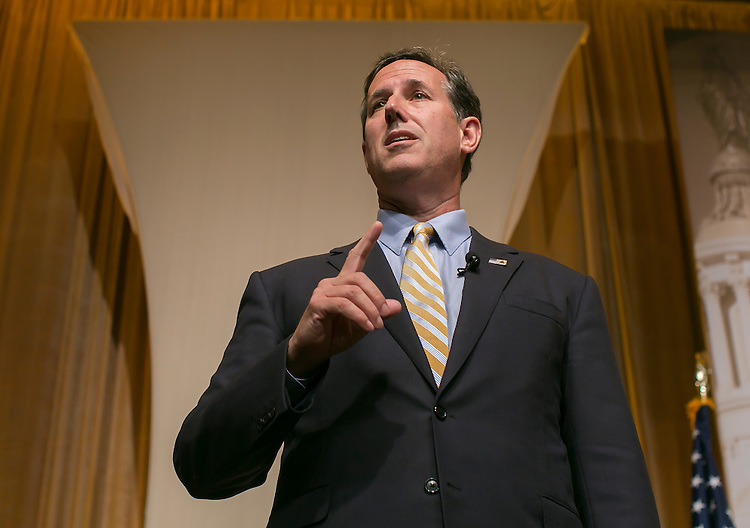 UNITED STATES - JUNE 19- Republican presidential candidate, former Pennsylvania Sen. Rick Santorum speaks during the Faith & Freedom Coalition's Road to Majority conference which featured speeches by conservative politicians at the Washington D.C. Omni Shoreham Hotel, June 19, 2015. (Photo By Al Drago/CQ Roll Call)