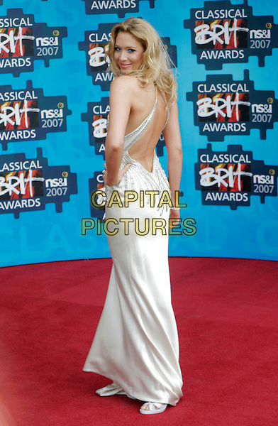 NATASHA MARSH .The Classical Brit Awards 2007, Royal Albert Hall, London, England. .May 3rd, 2007.full length white dress silver jewel encrusted detail looking over shoulder backless .CAP/AH.©Adam Houghton/Capital Pictures