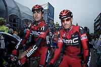 Taylor Phinney & George Hincapie at the start..74th Gent-Wevelgem (2012).236km between Deinze & Wevelgem.winner 2012: Tom Boonen..