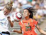 24 September 2006: UNC's Whitney Engen (9) and Miami's Sheuneen Ta (20). The University of North Carolina Tarheels defeated the University of Miami Hurricanes 6-1 at Fetzer Field in Chapel Hill, North Carolina in an NCAA Division I women's soccer game.