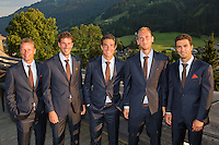 Austria, Kitzbuhel, Juli 15, 2015, Tennis, Davis Cup, Dutch team ready to go to the official dinner, Ltr: Captain Jan Siemerink, Robin Haase, Jesse Huta Galung, Thiemo de Bakker and Jean-Julien Rojer.<br /> Photo: Tennisimages/Henk Koster