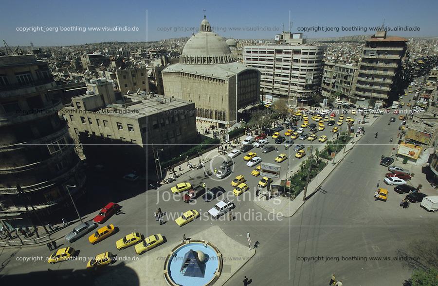 SYRIA Aleppo, christian cathedral and traffic on main road / SYRIEN Aleppo , christliche Kathedrale und Strassenverkehr