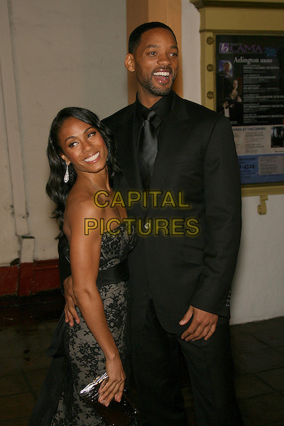 JADA PINKETT SMITH & WILL SMITH.22nd Santa Barbara International Film Festival - Modern Master Award - Arrivals held at Arlington Theatre, Santa Barbara, California, USA,.27 January 2006..half length married couple husband wife black suit tie strapless lace dress smiling.CAP/ADM/ZL.©Zach Lipp/AdMedia/Capital Pictures.