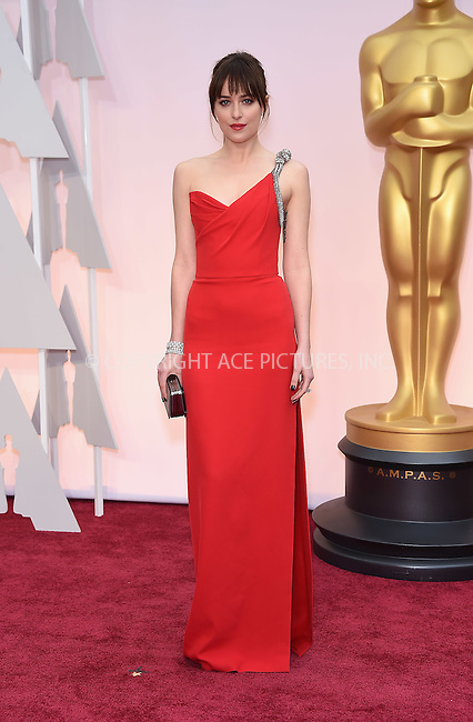 WWW.ACEPIXS.COM<br /> <br /> February 22 2015, LA<br /> <br /> Dakota Johnson arriving at the 87th Annual Academy Awards at the Hollywood &amp; Highland Center on February 22, 2015 in Hollywood, California<br /> <br /> <br /> By Line: Z15/ACE Pictures<br /> <br /> <br /> ACE Pictures, Inc.<br /> tel: 646 769 0430<br /> Email: info@acepixs.com<br /> www.acepixs.com