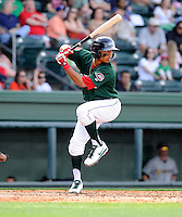 Infielder Mookie Betts (7) of the Greenville Drive in a game against the Charleston RiverDogs on Sunday, April 7, 2013, at Fluor Field at the West End in Greenville, South Carolina. Charleston won, 5-0. (Tom Priddy/Four Seam Images)