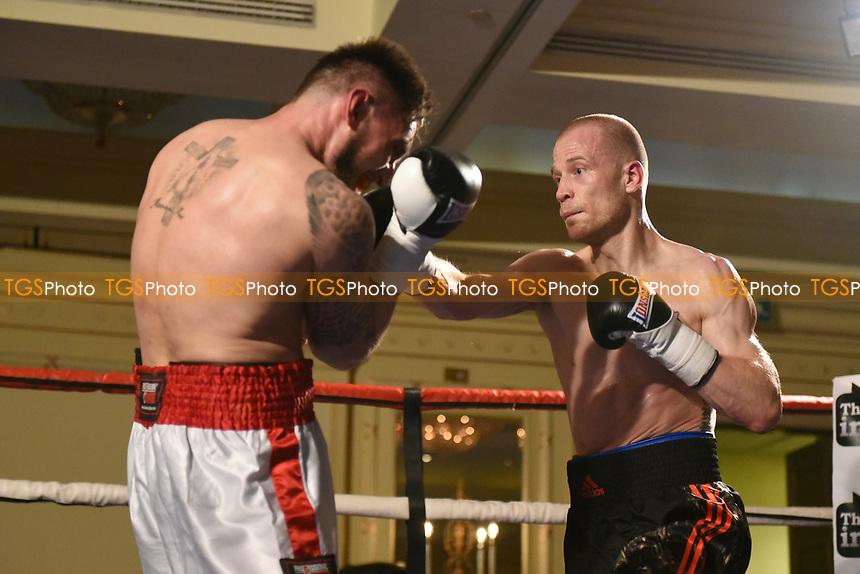 Konrad Stempkowski (black shorts) defeats Lukasz Kuc during a Boxing Show at the Millenium Hotel on 11th May 2017