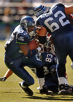 Sep 25, 2005; Seattle, WA, USA; Seattle Seahawks running back #37 Shaun Alexander runs the football against the Arizona Cardinals in the second quarter at Qwest Field. Mandatory Credit: Photo By Mark J. Rebilas