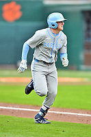 North Carolina Tar Heels shortstop Ike Freeman (8) runs to first base during a game against the Clemson Tigers at Doug Kingsmore Stadium on March 9, 2019 in Clemson, South Carolina. The Tigers defeated the Tar Heels 3-2 in game one of a double header. (Tony Farlow/Four Seam Images)