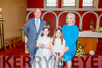 Lily Mae O'Sullivan from Caherlaheen NS, celebrating her 1st Holy Communion on Saturday in Church of the Immaculate Conception, Tralee.  <br /> L to r: Lily Mae, Daisy, Rory and Marnie O'Sullivan.