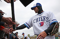 Syracuse Chiefs center fielder Bryce Harper #34 signs autographs before the opening game of the International League season against the Rochester Red Wings at Alliance Bank Stadium on April 5, 2012 in Syracuse, New York.  (Mike Janes/Four Seam Images)