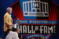 Canton, OH - August 6, 2016: Former NFL player Brett Favre gives his enshrinement speech at the Pro Football Hall of Fame Enshrinement Ceremony in Canton, Ohio, August 6, 2016.  Favre played 20 seasons in the NFL and retired as the NFL's all-time leading passer with 6,300 completions, 10,169 attempts, 71,838 yards and 508 TDs(Photo by Don Baxter/Media Images International)