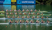 Lucerne, SWITZERLAND, 13th July 2018, Friday,  Start of the Women's Eights,  top,  &quot;USA W8+,    Bow, Victoria OPITZ, Gia DOONAN, Emily REGAN, Felice MUELLER, Dana MOFFAT, Tracy EISSER, Kristine O'BRIEN, Olivia COFFEY  and cox Katelin GUREGIAN, <br /> FISA World Cup series, No.3, Lake Rotsee, &copy; Peter SPURRIER