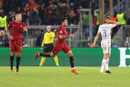31st October 2017, Stadio Olimpico, Rome, Italy; UEFA Champions League, Roma versus Chelsea; Diego Perotti of AS Roma celebrates  his goal