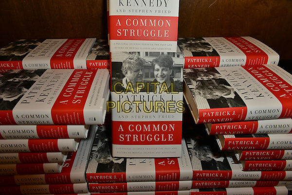 CORAL GABLES, FL - NOVEMBER 01: General view of books on display during Patrick Kennedy discusses and sign copies of his book 'A Common Struggle: A Personal Journey Through The Past And Future Of Mental Illness And Addiction  at Books and Books Gables on November 1, 2015 in Coral Gables, Florida. <br /> CAP/MPI10<br /> &copy;MPI010/Capital Pictures