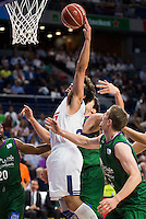 Real Madrid's player Sergio Llull and Unicaja Malaga's player Oliver Lafayette and Dejan Musli during match of Liga Endesa at Barclaycard Center in Madrid. September 30, Spain. 2016. (ALTERPHOTOS/BorjaB.Hojas) /NORTEPHOTO.COM