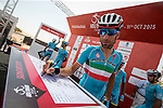 Vincenzo Nibali (ITA) Astana signs on before Stage 1 The ADNOC Stage, of the 2015 Abu Dhabi Tour running 174 km from Qasr Al Sarab to Madinat Zayed, Abu Dhabi. 8th October 2015.<br /> Picture: ANSA/Angelo Carconi | Newsfile
