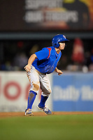 South Bend Cubs pinch runner Clayton Daniel (6) leads off second base during a game against the Kane County Cougars on July 21, 2018 at Northwestern Medicine Field in Geneva, Illinois.  South Bend defeated Kane County 4-2.  (Mike Janes/Four Seam Images)