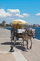 Horse drawn carriage on the waterfront. Thessaloniki, Macedonia, Greece