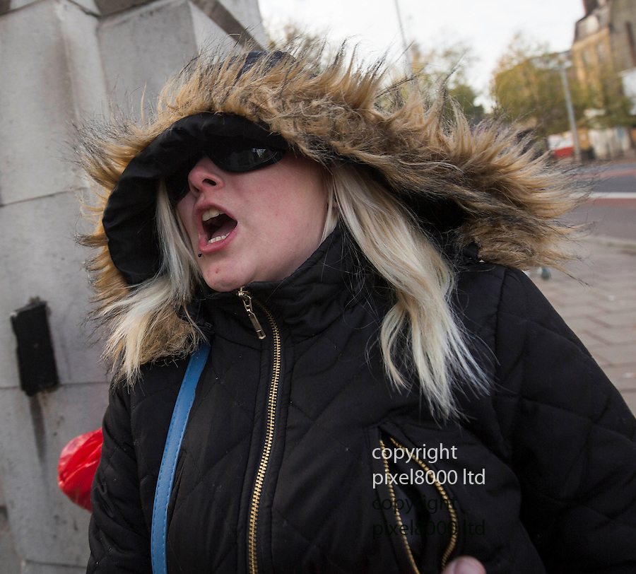 pic shows: Katherine Patrick arrive at Inner London Crown Court for sentencing today. 23.11.15<br /> <br /> They tried to cover their faces with hoods and screamed abuse at waiting media.<br /> <br /> A woman has admitted trying to murder her husband by poisoning him with anti-freeze concealed in a Christmas drink of cherry Lambrini.<br /> Jacqueline Patrick, 54, of Durning Road, Norwood, south-east London, pleaded guilty to two counts of attempted murder on her husband Douglas, 70.<br /> Their daughter Katherine, 21, admitted encouraging an indictable offence.<br /> Family arguments were believed to have motivated the pair, police said.<br /> <br /> <br /> <br /> <br /> Pic by Gavin Rodgers/Pixel 8000 Ltd