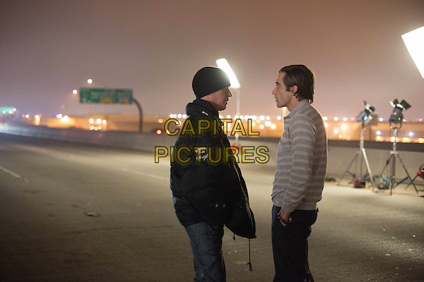 Dan Gilroy (Director), Jake Gyllenhaal<br /> on the set of Nightcrawler (2014)<br /> *Filmstill - Editorial Use Only*<br /> CAP/NFS<br /> Supplied by Capital Pictures