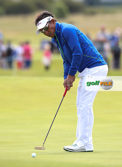 Thongchai Jaidee (THA) makes birdie on the 3rd during Round Three of the 2015 Aberdeen Asset Management Scottish Open, played at Gullane Golf Club, Gullane, East Lothian, Scotland. /11/07/2015/. Picture: Golffile | David Lloyd<br /> <br /> All photos usage must carry mandatory copyright credit (&copy; Golffile | David Lloyd)