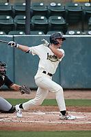 Jake McCarthy (31) of the Visalia Rawhide bats against the Modesto Nuts at Recreation Ballpark on June 10, 2019 in Visalia, California. (Larry Goren/Four Seam Images)