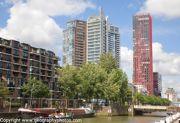 High rise office blocks and Red Apple residential apartments from Scheepmakers Haven, Rotterdam, Netherlands