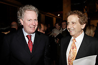 Oct 2006 File -<br /> Jean Charest, Quebec Premier (L)<br /> Jesus Carles  de Vilallonga (R).<br /> <br /> Internationally  know artist J C de Vilallonga donated recent painting for a benefit sales for tyhose with menyal disabilities, held at Parisian laundry in <br /> Montreal, canada.<br /> <br /> Charest was elected for the first time  April 14 2003, he is seeking a 3rd term in the  Quebec provincial election which will be held Dec 14, 2008.<br /> <br /> photo : (c) 2005 Images Distribution