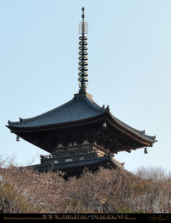 Tomyoji Sanjunoto three-story Pagoda Upper roof and Finial Detail Muromachi period built 755 rebuilt 1457 Sankeien Gardens Yokohama Japan