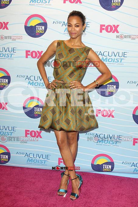 UNIVERSAL CITY, CA - JULY 22: Zoe Saldana in the press room at the 2012 Teen Choice Awards at Gibson Amphitheatre on July 22, 2012 in Universal City, California. &copy; mpi28/MediaPunch Inc. /NortePhoto.com*<br />  **CREDITO*OBLIGATORIO** *No*Venta*A*Terceros*<br /> *No*Sale*So*third* ***No*Se*Permite*Hacer Archivo***No*Sale*So*third*&Acirc;&copy;Imagenes*