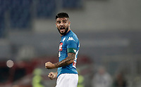 Calcio, Serie A: Roma, stadio Olimpico, 14 ottobre 2017.<br /> Napoli's Lorenzo Insigne celebrates after winning 1-0 the Italian Serie A football match between Roma and Napoli at Rome's Olympic stadium, October14, 2017.<br /> UPDATE IMAGES PRESS/Isabella Bonotto