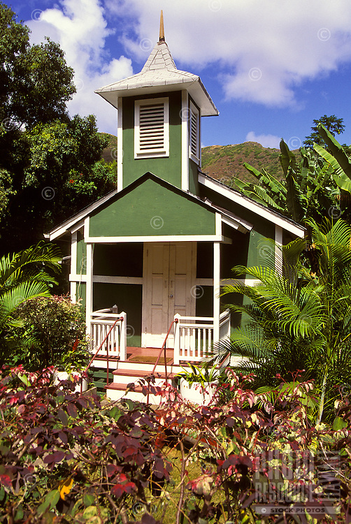 Halawa Valley Church, located in lush Halawa Valley, the oldest settlement in Molokai.