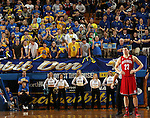 BROOKINGS, SD - MARCH 1:  Tyler Flack #23 from the University of South Dakota looks at the basketball court after committing his fifth foul in front of a rauocus student section from South Dakota State University in the second half or their game Saturday afternoon at Frost Arena in Brookings. (Photo by Dave Eggen/Inertia)