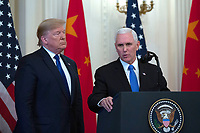 United States Vice President Mike Pence delivers remarks prior to United States President Donald J. Trump and Liu He, China's vice premier, signing a trade agreement between the United States and China in the East Room of the White House in Washington D.C., U.S., on Wednesday, January 15, 2020.  <br /> <br /> Credit: Stefani Reynolds / CNP/AdMedia