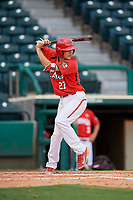 Canadian Junior National Team Austin Gomm (27) at bat during a Florida Instructional League game against the Atlanta Braves on October 9, 2018 at the ESPN Wide World of Sports Complex in Orlando, Florida.  (Mike Janes/Four Seam Images)