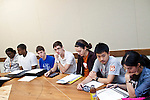 Students participate in a discussion during Professor Gretchen Ritter's course, Debates on Democracy, at the University of Texas at Austin on Monday, September 17, 2012. The Supreme Court will hear a major case involving race concious admissions and affirmative action at the University of Texas..Ben Sklar for the New York Times.