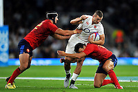 Jonny May of England takes on the France defence. QBE International match between England and France on August 15, 2015 at Twickenham Stadium in London, England. Photo by: Patrick Khachfe / Onside Images