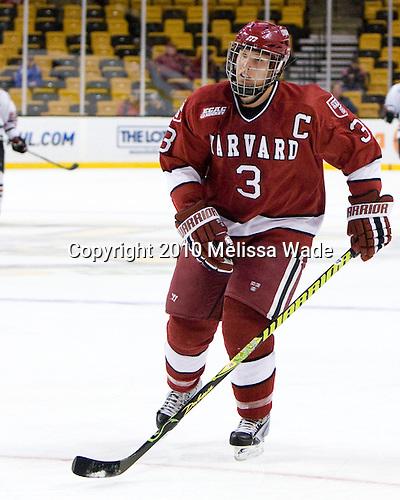 Alex Biega (Harvard - 3) - The Northeastern University Huskies defeated the Harvard University Crimson 4-1 (EN) on Monday, February 8, 2010, at the TD Garden in Boston, Massachusetts, in the 2010 Beanpot consolation game.