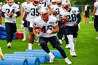 July 27, 2017: New England Patriots fullback James Develin (46) does a footwork drill at the New England Patriots training camp held on the at Gillette Stadium, in Foxborough, Massachusetts. Eric Canha/CSM
