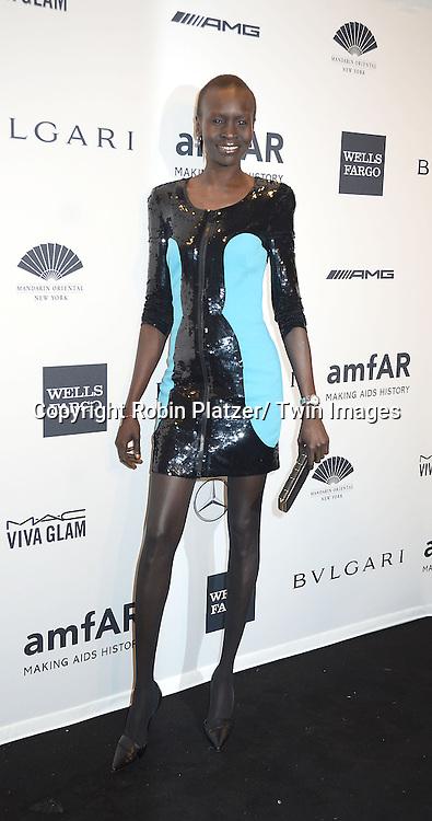 Alek Wek attends the amfAR New York Gala on February 5, 2014 at Cipriani Wall Street in New York City.