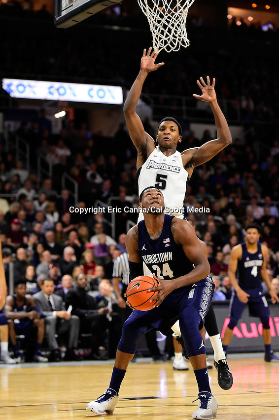 Wednesday, January 4, 2016: Georgetown Hoyas forward Marcus Derrickson (24) works under the basket defended by Providence Friars forward Rodney Bullock (5) during the NCAA basketball game between the Georgetown Hoyas and the Providence Friars held at the Dunkin Donuts Center, in Providence, Rhode Island. Providence defeats Georgetown 76-70 in regulation time. Eric Canha/CSM