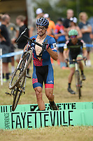 NWA Democrat-Gazette/ANDY SHUPE<br /> Adam Saban competes Saturday, Oct. 5, 2019, during the inaugural FayetteCross two-day cyclocross race series on Millsap Mountain at Centennial Park in Fayetteville. Visit nwadg.com/photos to see more photographs from the race.
